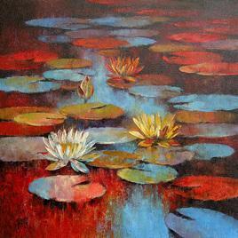 Waterlilies - 44 by Swati Kale, , , Brown color