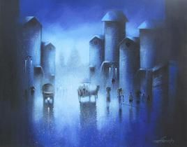 Dreamy Night by Somnath Bothe, , , Blue color