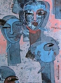 Family Gathering by Ashis Kabasi, Conceptual, Conceptual Painting, Acrylic on Paper, Blue color