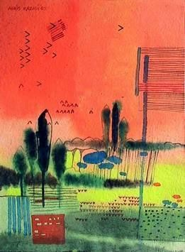 Abstract Landscape by Ashis Kabasi, Naive, Naive Painting, Acrylic on Paper, Red color