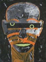 Abstract Face by Ashis Kabasi, Conceptual, Conceptual Painting, Acrylic on Paper, Gray color