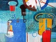 Abstract Still Life by Ashis Kabasi, Naive, Naive Painting, Acrylic on Paper, Cyan color