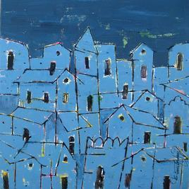 Village641 by Suresh Gulage, , , Blue color
