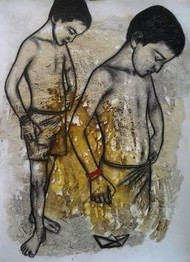 Hope to Meet at Infinity by Avi Roy, Illustration Painting, Mixed Media on Paper, Brown color
