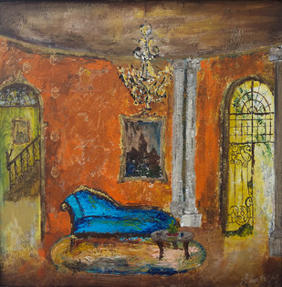 Baroque by Sheetal Singh, Art Deco, Art Deco Painting, Acrylic on Canvas, Brown color