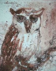 Staring Owl by Ashis Kabasi, Impressionism, Impressionism Painting, Watercolor on Paper, Brown color