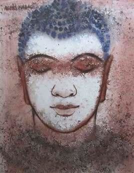 Buddha by Ashis Kabasi, Decorative, Decorative Painting, Watercolor on Paper, Brown color