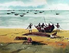 Fishermen by Ashis Kabasi, Impressionism, Impressionism Painting, Watercolor on Paper, Cyan color