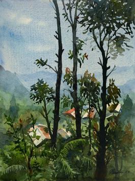 Mountain-Village by Ranabir Saha, , , Green color
