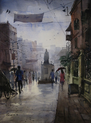 Monsoon-2 by Ranabir Saha, Painting, Watercolor on Paper, Gray color