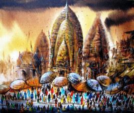 Banaras by Ananda Das, , , Brown color