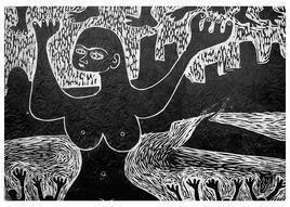 Mood - J by S K Sahni, Illustration, Illustration Printmaking, Linocut Print on Paper, Gray color