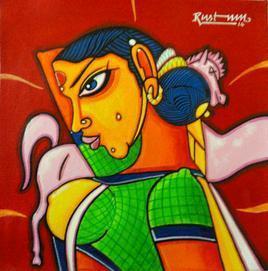 Telangana Sister by M D Rustum, , , Red color