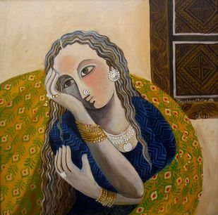 Mood 02 by Jayshree P Malimath, Traditional, Traditional Painting, Acrylic on Canvas, Brown color