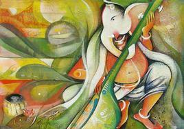 Gajamukha Ganapathi by M Singh, , , Beige color