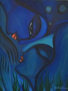 Mermaid and Merman by Anitha Praveen, , , Blue color