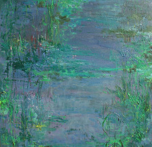 Waterscape 2 by Animesh Roy, Impressionism, Impressionism Painting, Acrylic on Canvas, Green color