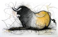 Bull Drawing - 122 by Sujith Kumar GS Mandya, Illustration, Illustration Drawing, Charcoal on Canvas, Gray color