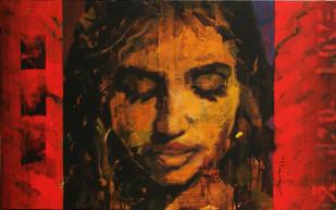 Stamp 183 by Devidas Dharmadhikari, Pop Art, Pop Art Painting, Acrylic on Canvas, Brown color