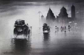 Rhythmic Monsoon 3 by Somnath Bothe, , , Gray color