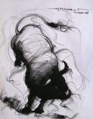 Bull Drawing - 86 by Sujith Kumar GS Mandya, Illustration, Illustration Drawing, Charcoal on Paper, Gray color