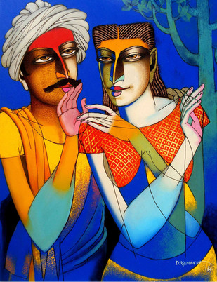 Couple-9 by Dayanand Kamakar, , , Blue color