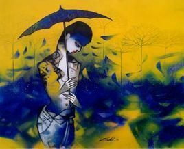 Untitled by Mukesh Salvi, Decorative Painting, Acrylic on Canvas, Blue color