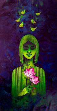 GREEN GIRL by Mukesh Salvi, , , Blue color