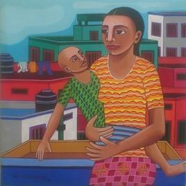 Mother and Child 01 by Thota Laxminarayana, , , Brown color
