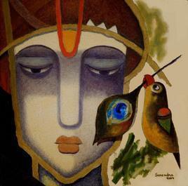 Krishna13-1 by Surendra Pal Singh, , , Brown color