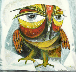 Owl I by Ratna Bose, Decorative, Decorative Painting, Acrylic on Board, Beige color