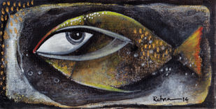 Fish III by Ratna Bose, Decorative, Decorative Painting, Acrylic on Board, Gray color