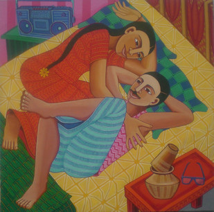 Couple by Thota Laxminarayana, Traditional, Traditional Painting, Acrylic on Canvas, Brown color