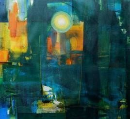 Untitled 45 by Stalin P J, Abstract, Abstract Painting, Mixed Media on Canvas, Green color