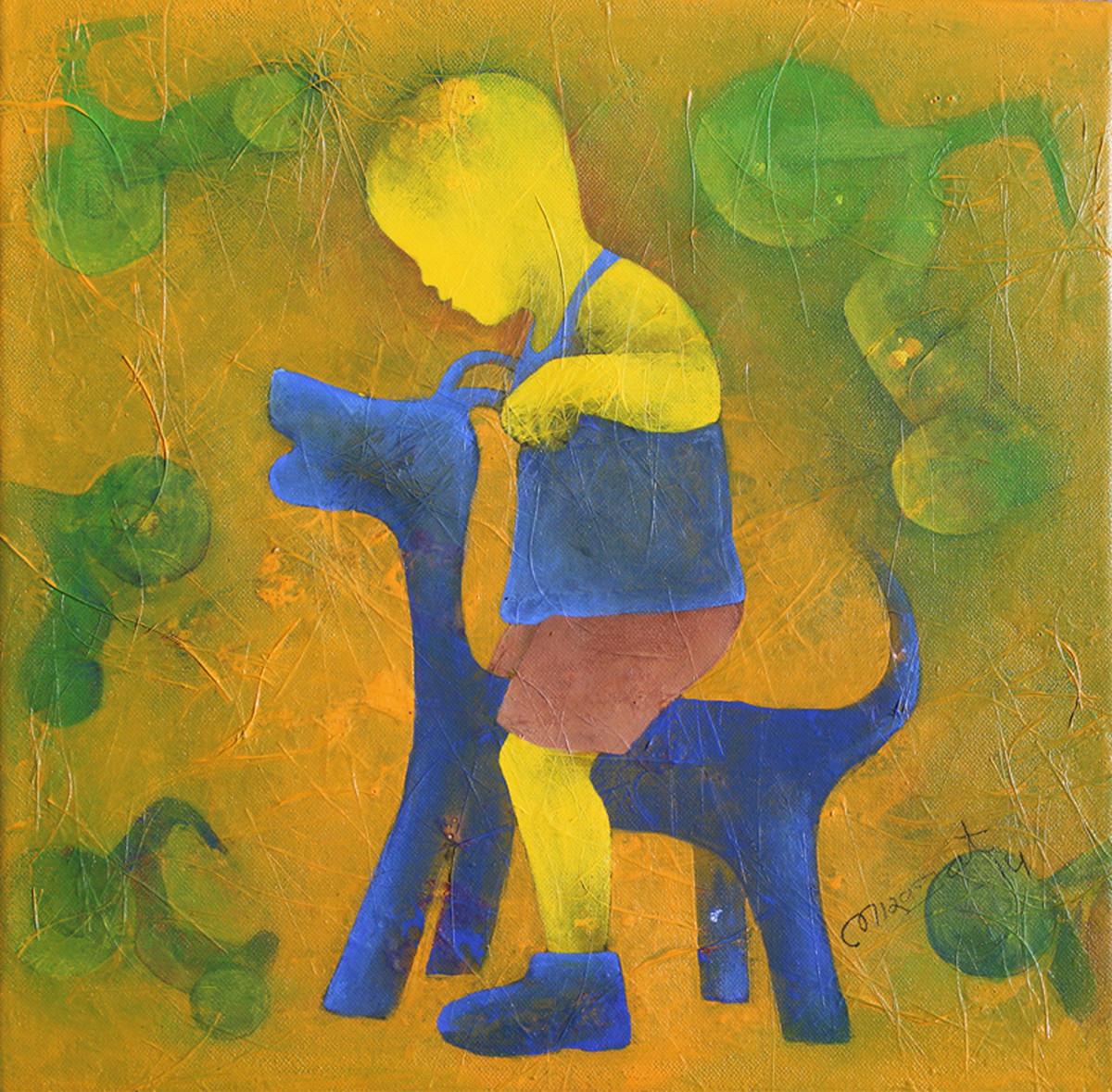Athkheliya11_1 by Lakhan Singh Jat, Decorative, Decorative, Impressionism, Impressionism Painting, Acrylic on Canvas, Green color