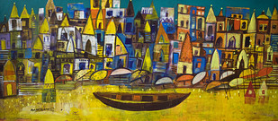 Your Banaras 2 by Arun K Mishra, Abstract, Abstract Painting, Acrylic on Canvas, Brown color