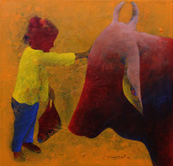Athkheliya 19-1 by Lakhan Singh Jat, Impressionism, Impressionism Painting, Acrylic on Canvas, Brown color