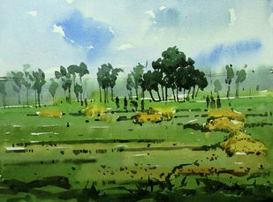 Village Life 1 by Asim Paul, Impressionism, Impressionism Painting, Watercolor on Paper, Green color