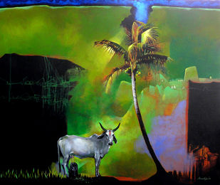 Story of a God by Pradip Sengupta, Conceptual, Conceptual Painting, Acrylic on Canvas, Green color