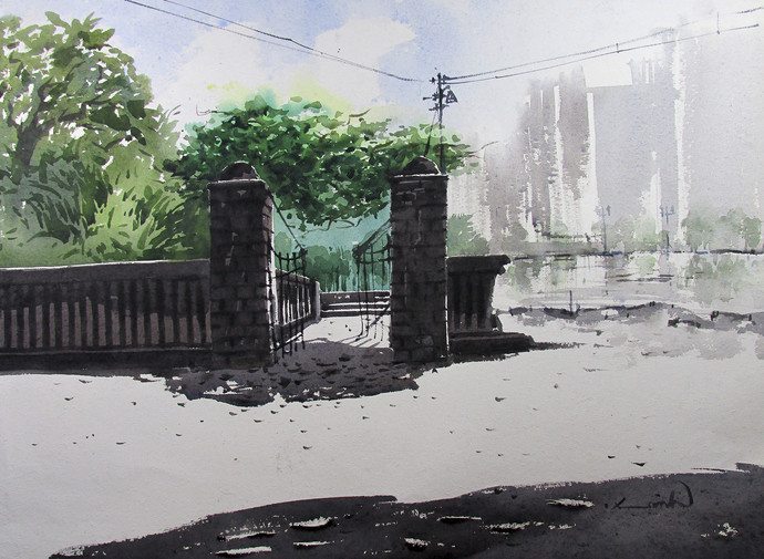 Entrance 2 by Asim Paul, Impressionism, Impressionism Painting, Watercolor on Paper, Gray color