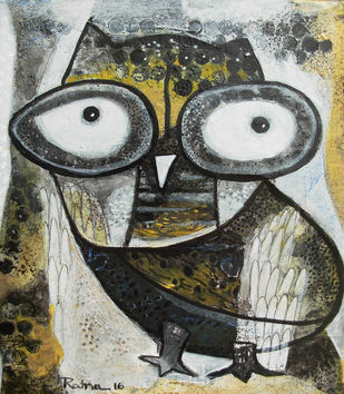 Owl IX by Ratna Bose, Painting, Mixed Media on Canvas, Brown color