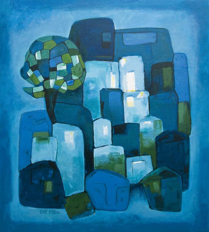 Town by Dipak Asole, , , Blue color