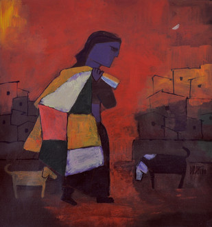 Unemployment by Dipak Asole, Decorative, Decorative Painting, Acrylic on Canvas, Brown color