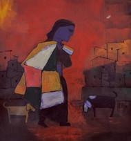 Unemployment by Dipak Asole, Decorative, Decorative Painting, Acrylic on Canvas, Brown color