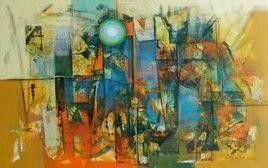 Untitled46_1 by Stalin P J, Abstract, Abstract Painting, Mixed Media on Canvas, Green color