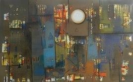 Untitled47_1 by Stalin P J, Abstract, Abstract Painting, Mixed Media on Canvas, Brown color
