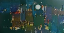 Untitled 48 by Stalin P J, Abstract, Abstract Painting, Mixed Media on Canvas, Green color
