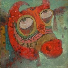 Fortunemaker -1 by Atish Mukherjee, Expressionism, Expressionism Painting, Tempera on Canvas, Brown color