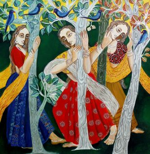 Glee 02 by Jayshree P Malimath, Traditional, Traditional Painting, Acrylic on Canvas, Brown color