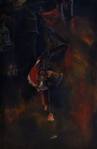 Faith3_2 by Prasoon Poddar, Realism, Realism Painting, Mixed Media on Paper, Black color